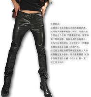 2013 leather pants autumn and winter classic fashion denim patchwork male slim pencil pants