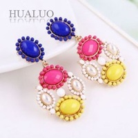 2014 New Arrived Fashion Bohemia Colorful Imitation Pearl Gem Flower Earring E1035