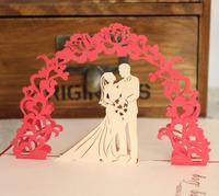 Free shipping(1pc) 3d handmade wedding greeting card