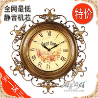 American vintage wrought iron mute table clock big fashion decoration wall clock