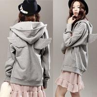 Drop Free Shipping Chic Ladies Angel Wings Zipper Coat Hooded Jacket Outwear Sweatshirt Long Sleeve