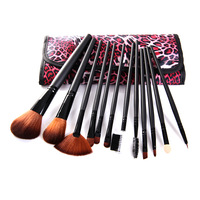 Free shipping New arrival leopard print 12 3 cosmetic brush slender fiber cosmetic brush set professional make-up tools