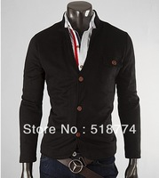 New winter men cultivating small suit collar single-breasted influx male knitting coat 417 free shipping