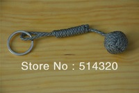 B039 Gray  Monkey Fist Steel Ball Bearing Self Defense Lanyard Survival Key Chain 18 cm Wholesale