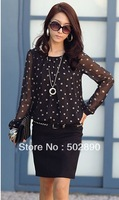 2013 Autumn women's shirts top polka dot chiffon long sleeve loose fat lace dot shirt blouse for women plus size M/L/XL/XXL/XXXL