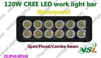 Free shipping 11'' 6800LM Waterproof 120W CREE LED work light bar SPOT/FLOOD/COMBO TRUCK,CAR,SUV,TANK 10-70V Offroad fog light