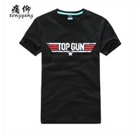 Free Shipping Top Gun Movie Logo Black Print Tee Shirt Men Male Women %100 Cotton Short sleeve O-Neck Fashion Blue T-Shirt