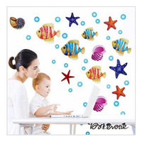Wholesale-New colorful fish underwater world starfish bedroom removable Living Room wall stickers vinyl stickers Free shipping
