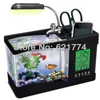 Hot Selling Creative USB Aquarium Mini Desktop LED Lamp LCD Clock Timer Calendar Fish Tank with Pen Holder Gift Free Shipping