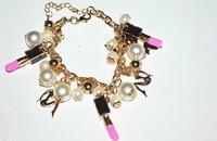 Min Order $18(Can Mix Item)Lipstick lady vintage imitation pearl bracelet opening bracelet