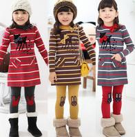 Free shipping 2013 Spring Autumn Stripe Bow Deer Pattern Long Design Top Dress Rabbit Trousers Legging Children Clothing Set