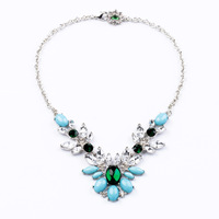 Fashion fashion accessories elegant light blue crystal pendant short design necklace