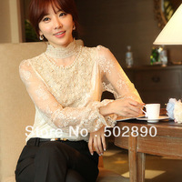 2013 New Women's Semi Sheer Sleeve Embroidery Top Tshirt Sexy Lace Floral Crochet Blouse Shirt For Lady plus size S-XXL