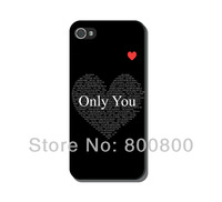 Monogram Only You Heart Hard Cover Case for iPhone 4/4S cover for iPhone 5 5S 5C (#0103) Personalized Custom Free Shipping