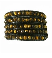 New Design tiger eye bead wholesale 5 wrap bracelet handmade wrap leather bracelet free shipping