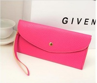 Free Shipping + Fashion Occident Classic long size clutch PU Candy color handbag Multifunction lady Purse  women Wallet