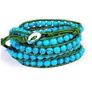 wholesale european style leather 5 wrap bracelets 6MM Turquoise Bead Wrap Wax Cord Bracelet free shipping