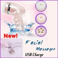 3 in 1 Electric Waterproof USB Rechargeable Face Cleaning Massager Face Skin Brush Massage HIght Quality Drop Shipping