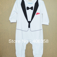 White/black formal style The Tuxedo design baby rompers kids jumpsuit climbing clothes for infant gentleman clothes  0729