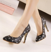 ladies women shoes woman new 2014 pumps sexy pointed toe high heels party spring autumn fashion punk skulls girls SXX31728