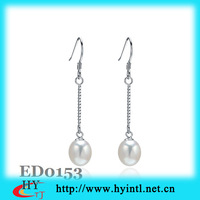 free shipping,aaa grade natural pearl drop earrings with hook ,sterling silver,with 3layer platium plated,classic gift ED0153
