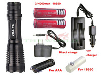 UltraFire E007 CREE XM-L T6 1800 Lumens Zoomable Flashlight AAA/18650 battery+2*4000mah battery+ac/car charger
