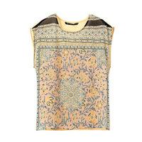 Women Blouses Shirts Vintage Peiris Print O-Neck Short Sleeve Chiffon Blouses Plus Size Blusas Femininas 2014 Summer Fashion