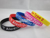 Type 2 Diabetic Medical Alert Silicone Wristband, silicon bracelet for diabetes group, keep healthy,1pcs/lot, free shipping