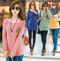 Spring and autumn new arrival pullover o-neck loose sweater thickening long-sleeve basic sweater women's sweater outerwear