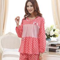 Sleepwear spring and autumn sweet princess dot knitted cotton long-sleeve sleepwear lounge set