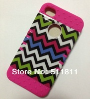 Newest  Hybrid Tuff Colorful Chevron Case For iphone4/4S ,100pcs /lot free shipping by DHL