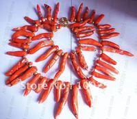 !!! Fashion one strand orange coral necklace bracelet set