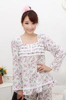 Spring and autumn women's 100% cotton long-sleeve small sleep set sweet princess lounge