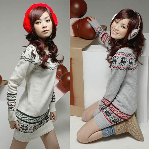 Wholesale 2013 New Hot Womans Lady Women Christmas Winter Long Sleeve Deer Print Knit Sweater Dress Top(China (Mainland))