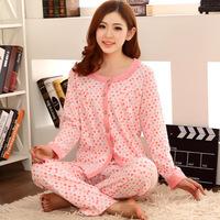 Spring and autumn princess sleepwear women's long-sleeve cotton pants modern lounge plus size sleep set