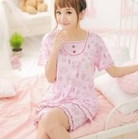Sleepwear summer women's noble princess modal knitted cotton print short-sleeve sleep set lounge