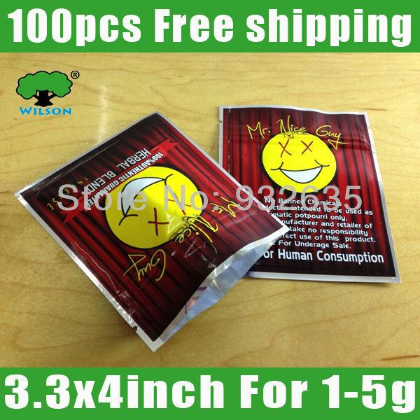 MR NICE GUY herbal blend Empty bag 100pcs 3.3''x4'' shamrock bags ziplock foil bag plastic packaging bags Free shipping(China (Mainland))