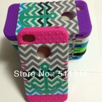 New Sailor Anchor Chevron Stripe Hard Plastic Patterned Case For iphone4/4S ,100pcs /lot free shipping by DHL