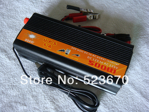 500W 1000W(peak) 12v to 220v Car Power Inverter+Charger & UPS,Quiet Fast Charge(China (Mainland))