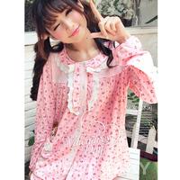 Sleepwear female 100% cotton long-sleeve japanese style princess autumn cotton set sleepwear lounge