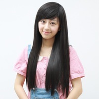 Free Shipping>>>>> Wig girls oblique bangs , fashion trend of the long straight hair wig