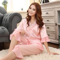 Royal princess wind lounge south korean silk chiffon ruffle sleeve patchwork capris summer female sleep set