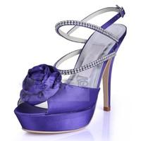 CM01 wholesale free shipping fashion high  heels Sandals open toe platform sexy purple flower evening dress women's shoes