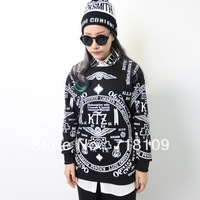 Hot Men Women Girl GDT Skeleton Printing Hip-hop Thick Loose Long Sleeve Coat T Shirt Free Shipping