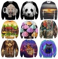 2014 Fashion Women/Men leopard Space print Pullovers galaxy sweatshirts panda/tiger/cat animal 3d sweaters Hoodies top plus size
