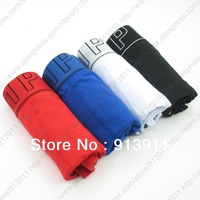 Fashion mens underwear cotton boxers Black White Red Blue shorts 4pcs lot Mix colors HOT