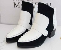 European Designer Brand 2013 Winter New Arrival Pointed Toe Genuine Leather Colors Patchwork Women Fashion Square Heel Boots