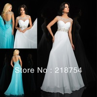 Unique Scoop Cap Sleeves A-line Light Sky Blue Chiffon Beaded Floor Length Backless Prom Long Dress Evening Gowns 2014 China