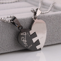 Lovers In half heart pendant necklaces bead chain for men women 316L Stainless Steel necklace wholesale Free shipping