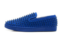 Size:39-46 Men's Red Bottom Blue Suede Low Top Patent Leather Spikes Slip On Sneakers,Designer Fashion 2013 Flat Casual Shoes